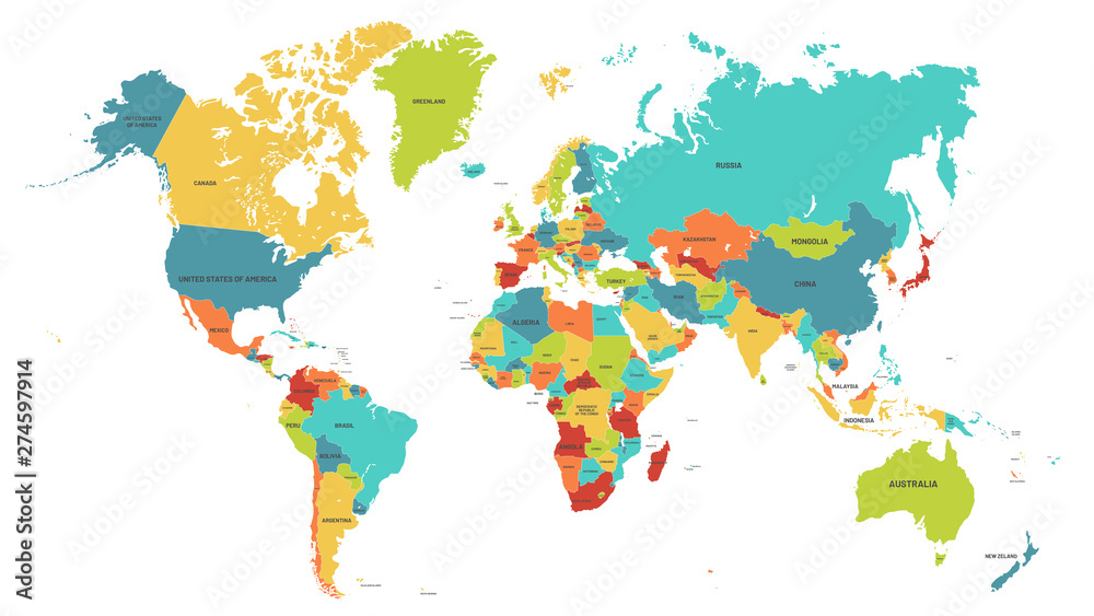 Fototapety, obrazy: Colored world map. Political maps, colourful world countries and country names. Geography politics map, world land atlas or planet cartography vector illustration