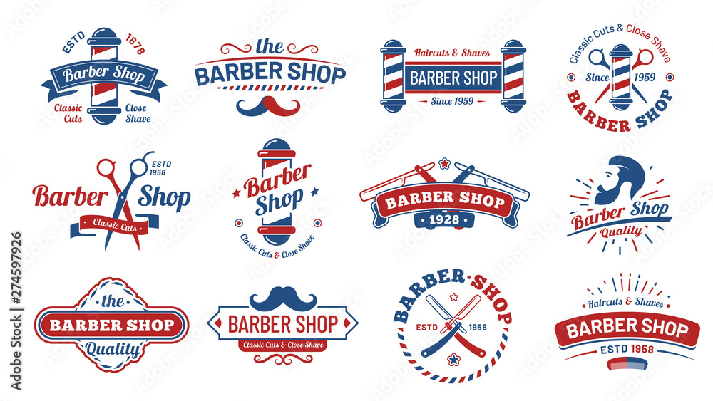 Fototapeta Barbershop badges. Vintage barber label, retro shave salon badge and gentleman haircut old sign. Barbers hipster mustache or beard logotype, barbering tattoo. Vector illustration isolated symbols set