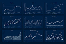 Data Graphic Charts. Maths Coordinates Graph, Growth Chart Graphics And Business Infographic Graphs. Data Research Chart, Statistics Graphics Or Diagram Visualization Bar Vector Illustration Set