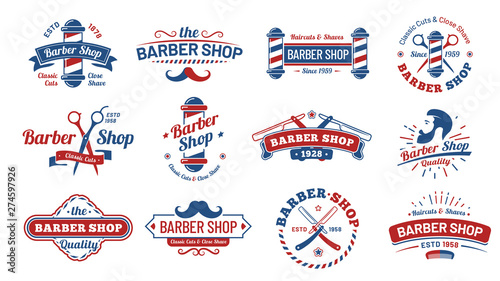 Barbershop badges Fotobehang