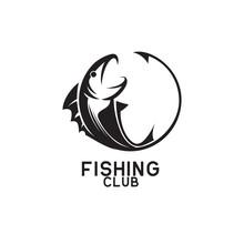 Fishing Logo On White Background, Vector Illustration