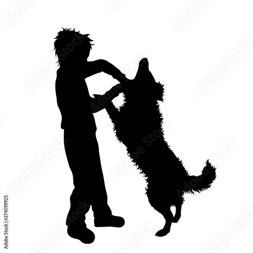 Vector silhouette of boy who beat dog. Animal abuse symbol. Fototapeta