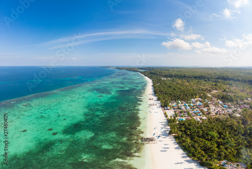 Aerial view tropical beach island reef caribbean sea Canvas Print