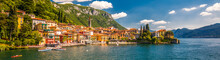 VARENNA, ITALY - June 1, 2019 - Varenna Old Town With The Mountains In The Background, Italy, Europe
