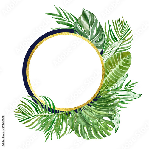 Valokuva  Watercolor tropical leaves and plants round frame