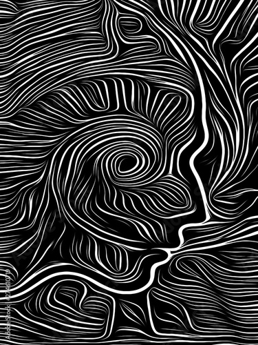 Poster Psychedelique Mind Spiral Woodcut