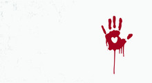 Bloody Hand Mark With Heart Sh...