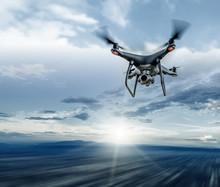 Dark Drone In Flight Over The ...