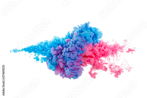 Fototapeta Blue and red paint splash isolated on white background