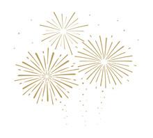 Gold Festive Fireworks Isolated On White Background. Vector Illustration. Flat Design. EPS 10.