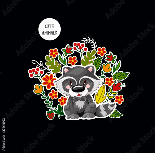 Printed kitchen splashbacks Postcard with cute baby raccoon and flowers for kids. Vector.