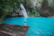 Leinwanddruck Bild - The azure Kawasan waterfall in cebu. The maining attraction on the island. Concept about nature and wanderlust traveling