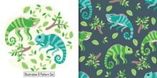 Cute Baby Iguana Animal Card Seamless Pattern Set