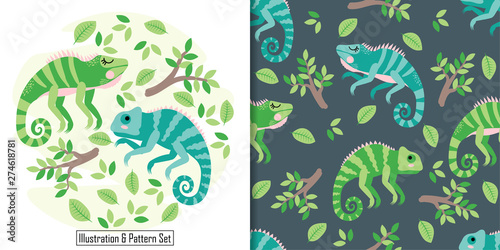 Photo cute baby iguana animal card seamless pattern set