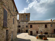 View of the city square in radicofani of tuscany in italy