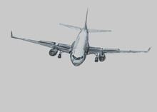 Airplane In The Sky. Pencil Il...