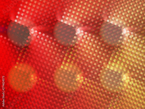 Red and Yellow Abstract Background Image, Graphic Illustration Artistic Resource, Lines and Symmetrical Circle Patterns, Glowing Neon Dots. Modern Fractal Digital Art. Light Effects