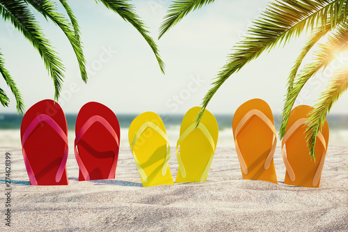 Fényképezés  Bright flip flops on beach