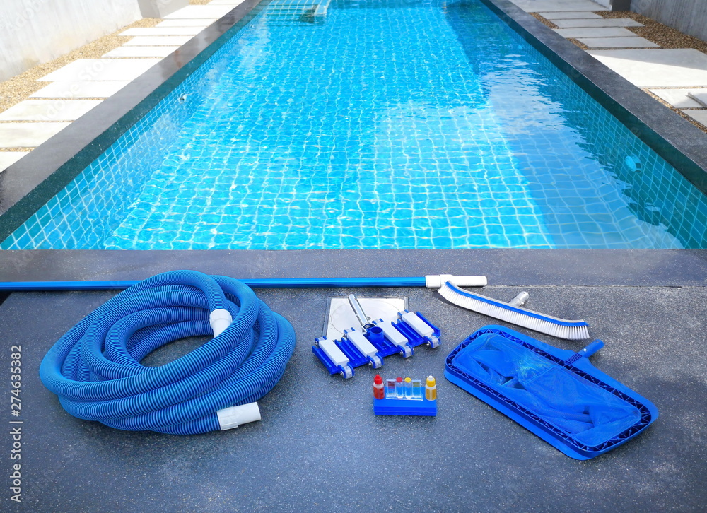 Fototapety, obrazy: Swimming pool cleaning equipment.Service and maintenance of the pool.