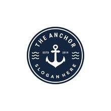 Emblem Anchor Symbol Vector Logo Design