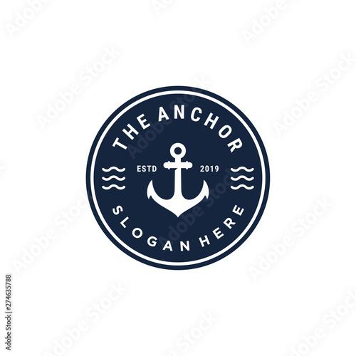 Fotografia emblem anchor symbol vector logo design