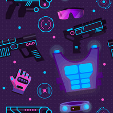 Gamer In Laser Tag Vector Play...