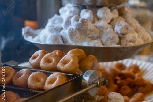 Close up of Mini Donuts on Vintage Frying Machine