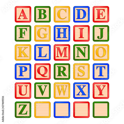 uppercase letters children's wooden alphabet blocks vector graphic icon illustra Canvas Print