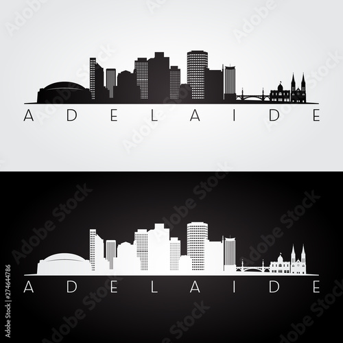 фотография Adelaide skyline and landmarks silhouette, black and white design, vector illustration