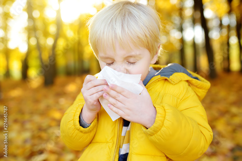 Little boy sneezing and wipes nose with napkin during walking in autumn park Canvas-taulu