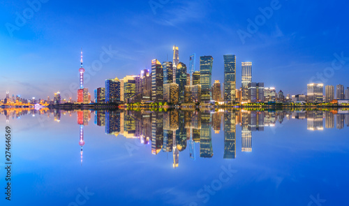 Shanghai skyline with modern urban skyscrapers at night,China Wallpaper Mural