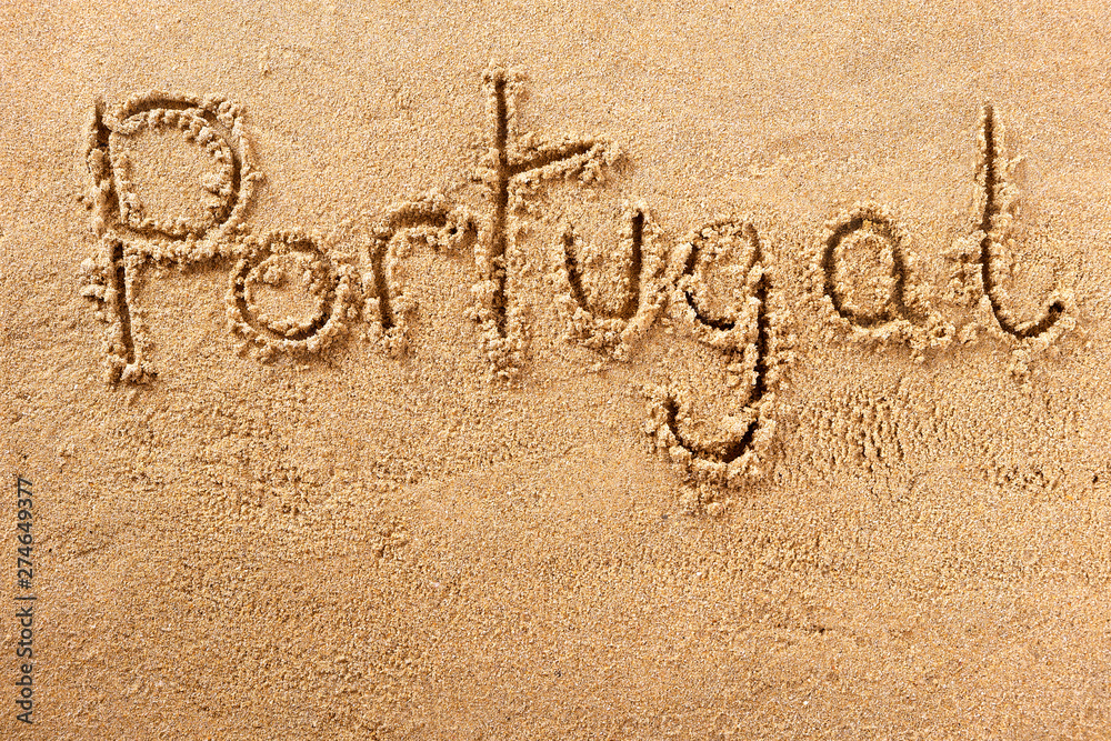 Fototapety, obrazy: Portugal algarve summer beach writing message