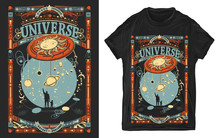 Human And Universe. Father And Son. Meaning Of Life Of Mankind, Bright Future. Sci-fi Print For T-shirts And Another, Trendy Apparel Design