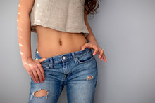 Young Woman Sexy Body In Jeans