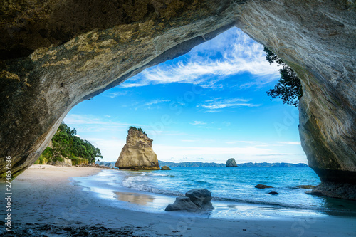 Tuinposter Cathedral Cove view from the cave at cathedral cove,coromandel,new zealand 50