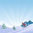 Flat Style Beautiful Alps Landscape Illustration, with skier on slope of the hill vector