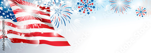 Fototapeta 4th of july USA Independence day banner background design of American flag with fireworks vector illustration obraz