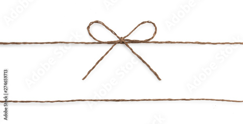 Fotomural  String twine rope bow isolated on white.