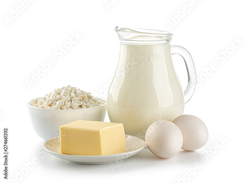Fotografía Organic dairy products isolated on white background
