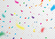 Confetti, Bright Colors, Carnival And Party Can Be Separated From The Transparent Background