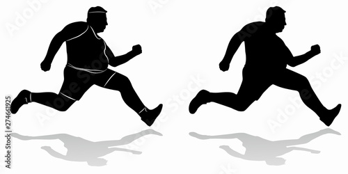 silhouette of fat man runner vector draw buy this stock vector and explore similar vectors at adobe stock adobe stock fat man runner vector draw