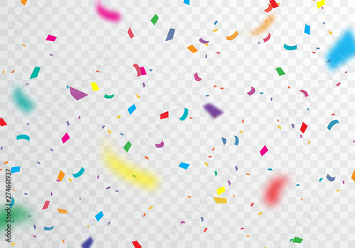 Obraz  Confetti, bright colors, carnival and party can be separated from the transparent background - fototapety do salonu