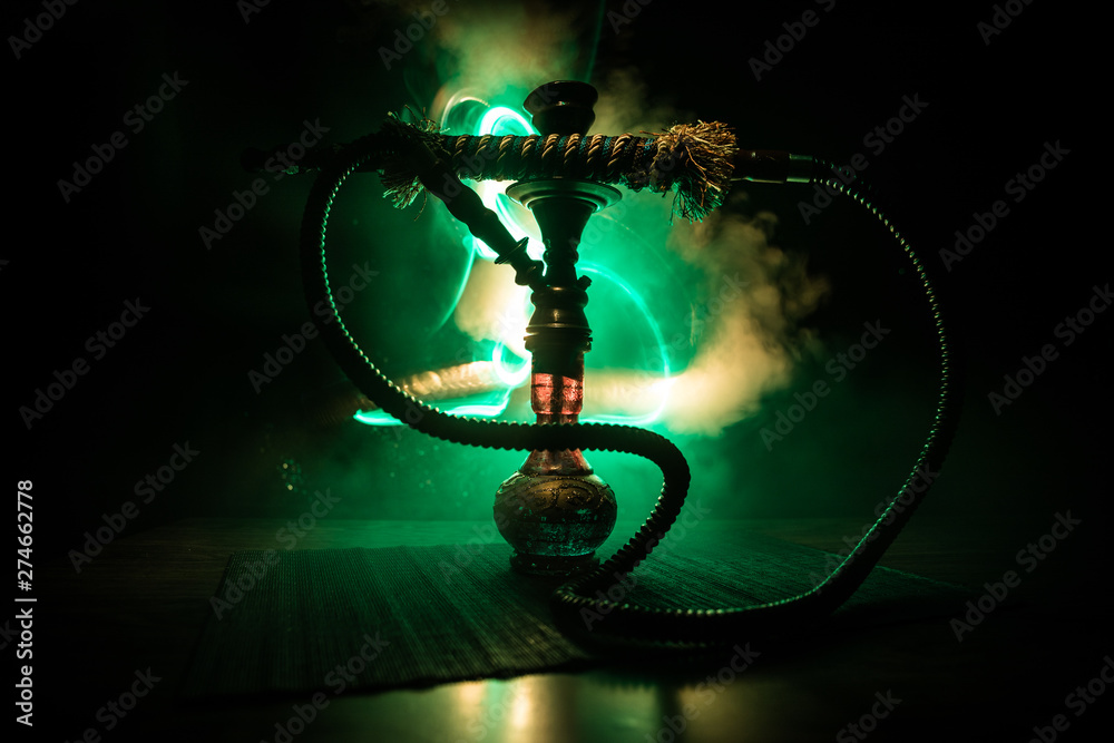 Fototapety, obrazy: Hookah hot coals on shisha bowl on dark foggy background. Stylish oriental shisha.