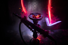 Hookah Hot Coals On Shisha Bowl On Dark Foggy Background. Stylish Oriental Shisha.