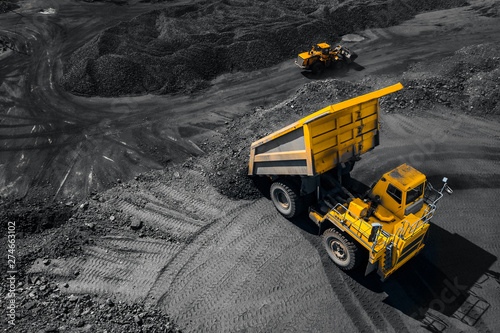 Open pit mine industry, big yellow mining truck for coal, top view aerial drone Wallpaper Mural