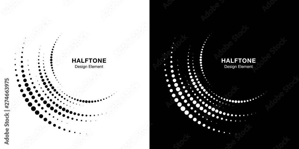 Fototapeta Set of Halftone incomplete circle frame dots logo isolated on background. Circular part design element for treatment, technology. Half round border Icon using halftone circle dots texture. Vector