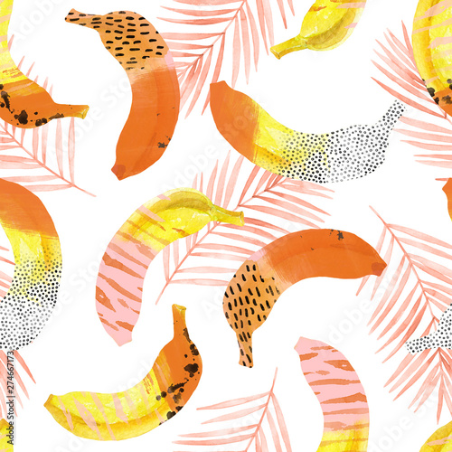 Fotobehang Aquarel Natuur Fun bananas and palm leaves print in 80s 90s pop art style.