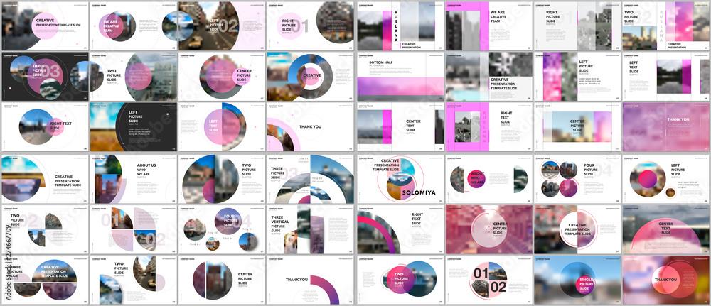 Fototapeta Minimal presentations design, portfolio vector templates with circle elements on white background. Multipurpose template for presentation slide, flyer leaflet, brochure cover, report, marketing.