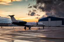 Business Jet At Sunset After T...