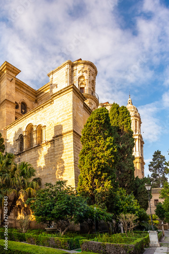 Tuinposter Oude gebouw Malaga Cathedral in Andalusia, Costa del Sol tourist resort Spain